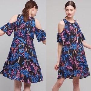 NWOT Maeve Elia Floral Cold Shoulder Ruffle Dress